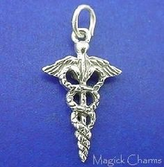 Sterling Silver .925 CADUCEUS Medical Symbol 3D Charm