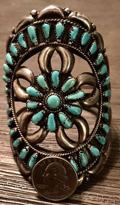 Huge Extremely Rare Old Pawn Sterling Turquoise Cluster Cuff Bracelet Must See #UNBRANDED