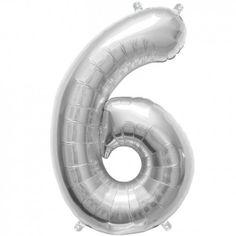 """Ballon chiffre """"6"""" argent - 40 cm"""
