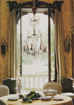 LOVE the chandelier and door and well everything.