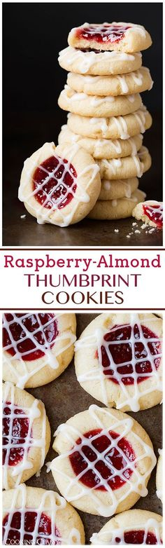 Raspberry Almond Shortbread Thumbprint Cookies - these are one of my FAVORITE Christmas cookies!: Raspberry Almond Shortbread Thumbprint Cookies - these are one of my FAVORITE Christmas cookies! Cookie Desserts, Cookie Recipes, Dessert Recipes, Cookie Ideas, Holiday Baking, Christmas Baking, Best Thumbprint Cookies, Raspberry Thumbprint Cookies, Raspberry Cookies