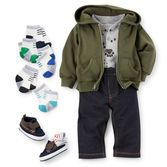 A paw print Henley bodysuit and knit denim pants pair with an olive hoodie and duck boots for a let's-go-out-and-play outfit!