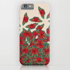 Ruby & Emerald Butterfly Dance - red, teal & green butterflies on cream iPhone & iPod Case