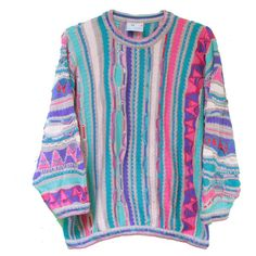 Oversize Small Rainbow Coogi Sweater - Colorful Multicolor Coogi Brand Size S ($165) found on Polyvore featuring tops, sweaters, flat top, over sized sweaters, vintage tops, multi colored sweater and checkered sweater