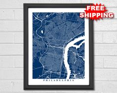 FREE SHIPPING ON ALL ORDERS IN THE USA! Beautiful print of Philadelphia streets. The vast network of winding roads provides for a stunning