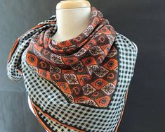 Vintage Anne Klein Paisley Print Square Silk Scarf Anne Klein, Paisley Print, Scarfs, Plaid Scarf, Alexander Mcqueen Scarf, Silk, Trending Outfits, Unique Jewelry, Etsy