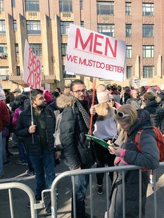 """""""Men: We must do better,"""" the Women's March, January 20, 2018.  Photo credit: @feministabulous — in New York, New York."""