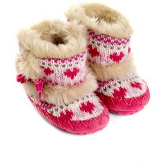 Monsoon Baby Fairisle Knit Slipper Boots ($7.34) ❤ liked on Polyvore featuring baby, baby girl, shoes, baby clothes e baby shoes