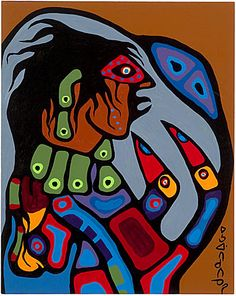 Ojibway Shaman Figure, Norval Morrisseau, 1975 MMFA Native Canadian, Canadian Artists, Native American Art, Woodlands School, Inuit Art, Indian Artist, Indigenous Art, Global Art, Native Americans