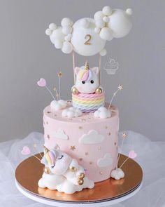 YAYY or NAH?❤ - Cute cake for the birthday! - Decoration is soooo beautiful! Love the Uniqorns!🎂 - What's your favorite part of this cake?☺ - Start to bake with Cute Birthday Cakes, Beautiful Birthday Cakes, Baby Girl Birthday Cake, Baby Girl Cakes, Gateau Baby Shower, Hot Air Balloon Cake, Cute Cakes, Unicorn Birthday, Shower Cakes