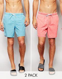 ASOS Swim Shorts In Mid Length Acid Wash 2 Pack SAVE 18%