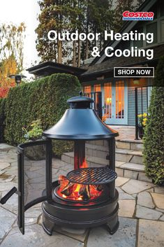 Enjoy your favorite BBQ foods while soaking up the warmth and atmosphere of this Outdoor Cooking Fire Pit. With a heat-resistant black finish and antique rubbing, its classic design features a swing-out grill for food use. Shop now at Costco.com.