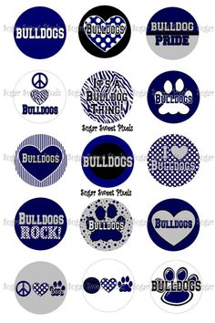 INSTANT DOWNLOAD Navy Blue Bulldogs  School by sugarnspicebow