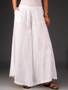 White Chikankari Embroidered Elasticated Waist Palazzos Plazzo Pants, Fashion Vocabulary, Embroidery Suits, Eyelet Dress, Pants Pattern, College Outfits, Pakistani Dresses, Classy Outfits, High Waisted Skirt