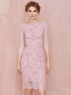 Pink Backless Crocheted Lace Dress