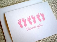 Triplet Baby Shower Thank You Cards - Set of 10 Gender Neutral Thank You Notes - Simple Triplets Footprints Cards - Boy Girl Gender Neutral Triplet Babies, Baby Shower Thank You Cards, Triplets, Thank You Notes, Footprints, Kraft Envelopes, New Baby Gifts, New Baby Products, How To Draw Hands