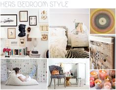 Bedroom schemes...loving the eclectic frames and art work on the wall collage!