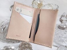 Personalized Leather Card Holder - Hand Stitched