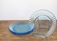 Fortecrisa Ice Blue Plates.  Blue Lunch Plates. Wedding Plates by DesertBlossomVintage.com