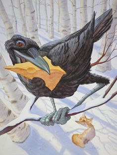 """LOVE this """"Snarky"""" Lookin' Crow, all proud of itself with it's hunk o' Cheese!! by Brad Sneed  from AESOP'S FABLES"""