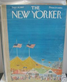 987b9473545068 1957 vintage flags cover art for the New Yorker Cover September 28.  Illustration of the