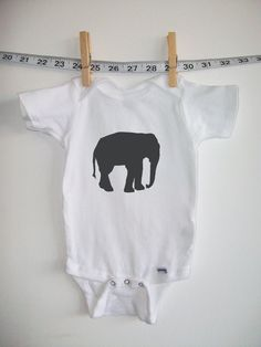 baby onesie baby clothes Elephant white with by littleleestudios, $16.00
