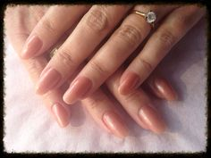 Natural CND shellac shimmer over acrylics. Rounded shape