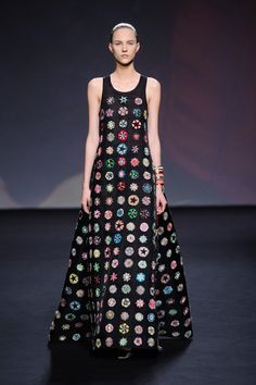 Christian Dior at Couture Fall 2013 - StyleBistro. This is actually embrodiery but looks like Granny Squares to me