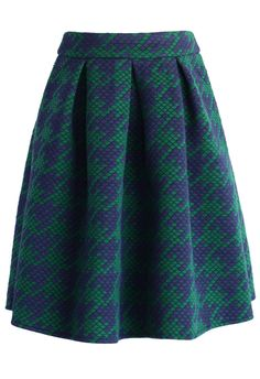 Houndstooth Quilted Skirt in Green - Retro, Indie and Unique Fashion