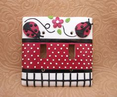 Zoey Ladybug lightswitch cover Red white black by Thimbletowne, $23.00