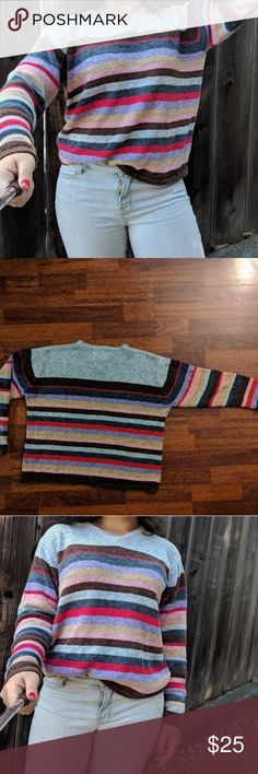 Retro striped sweater Multicolored thick sweater. I like the color choices for the stripes.  55% ramie -cotton/wool blended with other fabric to prevent wrinkles, hold shape, and provide a silly lustre. 45% cotton Tiara Sweaters V-Necks