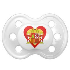 Spain/Spanish flag-inspired Heart Pacifier - newborn baby gift idea diy cyo personalize family
