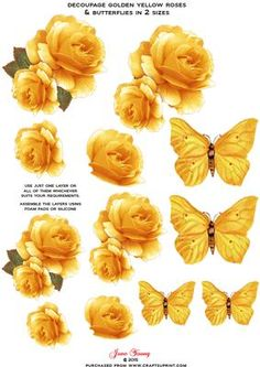 Golden Yellow Roses Butterflies Decoupage Sheet on Craftsuprint designed by June Young - A Sheet with golden yellow roses and toning butterflies in two sizes. Can be used for your card making, scrapbooking or any other craft you wish to use them for. You can use one layer or all of them - whatever suits your requirements. A really useful addition to your Embellishment stock. - Now available for download!