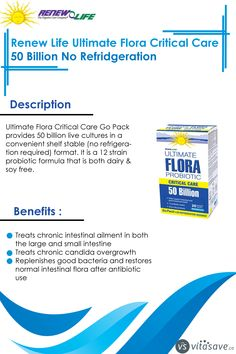 Renew Life Ultimate Flora Critical Care 50 Billion 20 Capsules, No Refrigeration Lactobacillus Acidophilus, Candida Overgrowth, Candida Albicans, Cleanse Program, Stomach Acid, Critical Care, Healthy Environment, Abdominal Pain
