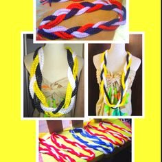 Single and double braided graduation leis done in school colors. All hand made using ribbons.