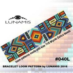 PDF FORMAT / PATTERN ONLY. Create this beautiful cuff bracelet. Bracelet loom patterns / square stitch made with size 11/0 Miyuki Delica beads Width: 4,0 cm / 1.5 (29 columns) Length: 16 cm / 6.3 Colors: 7 Patterns include: - Large colored numbered graph paper (and non-numbered