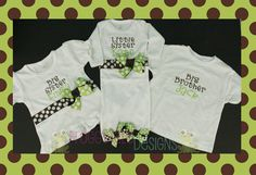 Bringing home our Little MaN!  Big Brother, Big Sister Shirt and Little Sister Layette Gown Set in Lime and Chocolate for Little Siblings - PERSONALIZED Custom