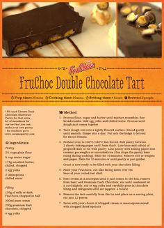 FruChoc Double Chocolate Tart Death By Chocolate, Something Sweet, Cooking Time, Anastasia, Great Recipes, Tart, Deserts, Cakes, Baking
