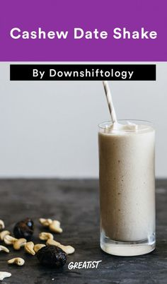 """Cashew Date Smoothie  Meet the Palm Springs date shake's healthier cousin. Though you'll be skipping the milk and ice cream, adding hella cashews (and a little coconut whipped """"cream"""") gives this smoothie the same thick, creamy consistency you'd find in the classic California shake."""
