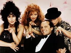 Cher, Susan Sarandon, Michelle Pfeiffer and Jack Nicholson star in The Witches of Eastwick as part of our FEARce movies!