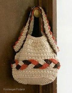 Crochet beige bag with diagram