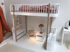 Oliver High Loft Bed in White and Oak with Storage