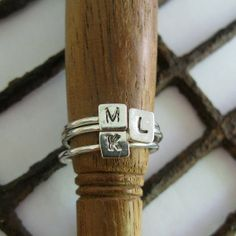 Sterling  Initial Stackable  Rings