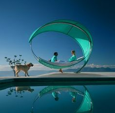 Outdoor modern hammock by Royal Botania (newWave) I want this in my backyard! Outdoor Spaces, Outdoor Living, Outdoor Hammock, Hammocks, Hammock Bed, Outdoor Lounge, Hammock Ideas, Sun Lounger, Bed Swings