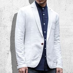 Sale 20% (48.95$) - Mens Casual Slim Fit Flax Suits Solid Color One Button Suit Collar Coat