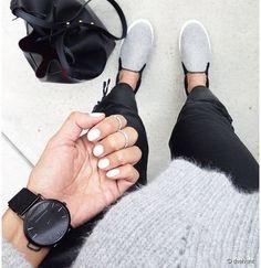 Grey Black White slip on