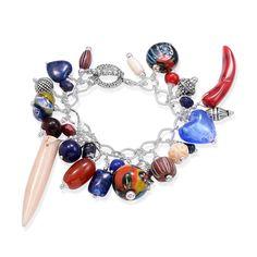 Howlite, Sodalite, Carnelian, Coral, Murano Glass Bracelet in Silvertone (7.5 in) TGW 7.50 Cts.