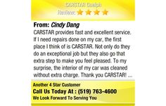 CARSTAR provides fast and excellent service. If I need repairs done on my car, the first...
