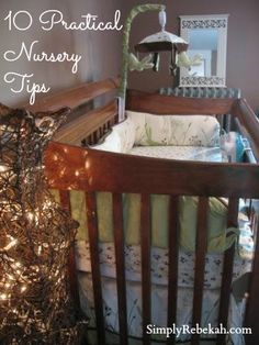 10 Practical Tips for a Fabulous & Affordable Nursery - I love the DIY night light with the dimmer switch you can activate with your foot! Even if your arms are filled with a sleeping baby you can turn on a soft light.