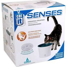 Catit Design Senses Drinking Fountain, with Water Softening Filter